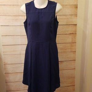 H&M sleeveless scoop neck pleated dress sz 8